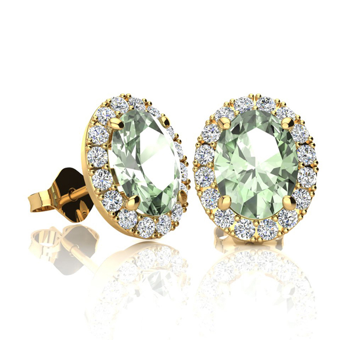1.5 Carat Oval Shape Green Amethyst & Halo Diamond Stud Earrings in 10K Yellow Gold, I/J by SuperJeweler