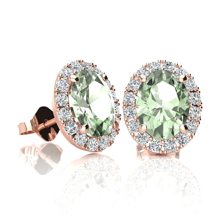 1.5 Carat Oval Shape Green Amethyst & Halo Diamond Stud Earrings in 14K Rose Gold, I/J by SuperJeweler