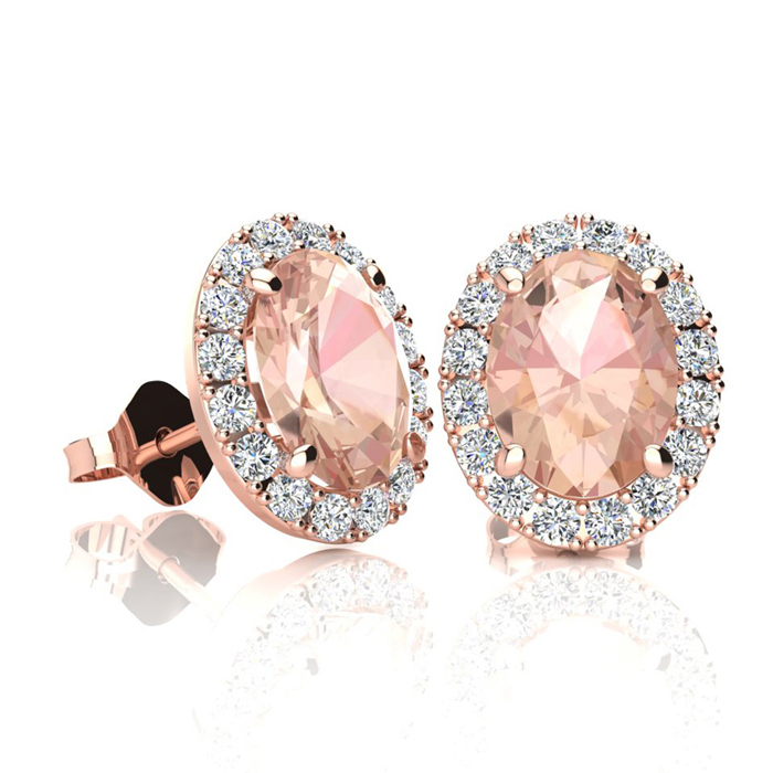 1 3/4 Carat Oval Shape Morganite & Halo Diamond Stud Earrings in 14K Rose Gold, I/J by SuperJeweler