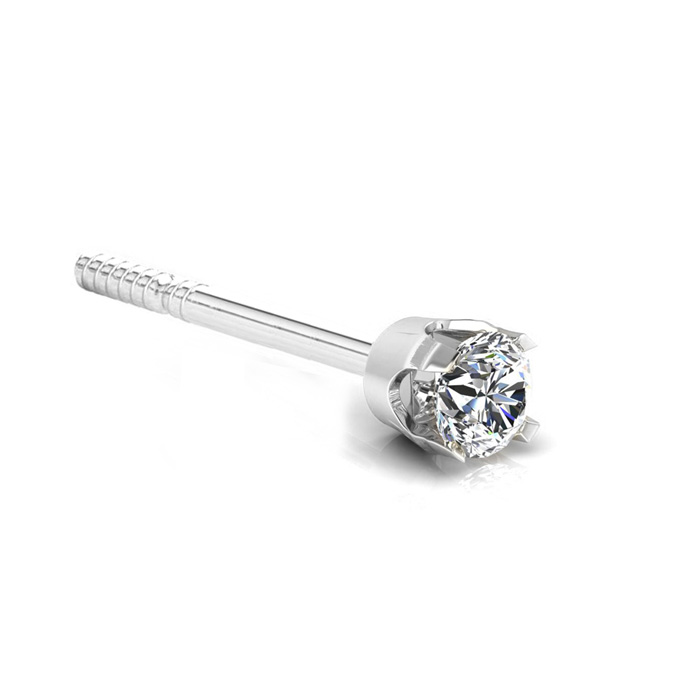 12 Point Single Diamond Stud Earring in 14K White Gold, Natural E