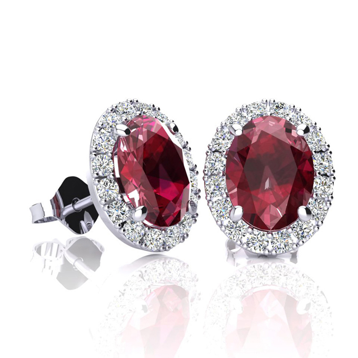 2 Carat Oval Shape Ruby & Halo Diamond Stud Earrings in 14K White