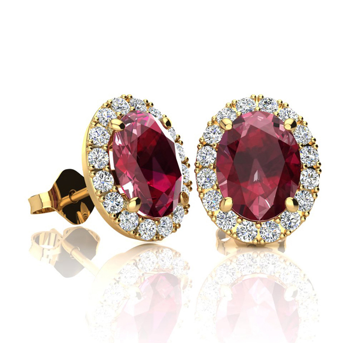 2 Carat Oval Shape Ruby & Halo Diamond Stud Earrings in 14K Yello