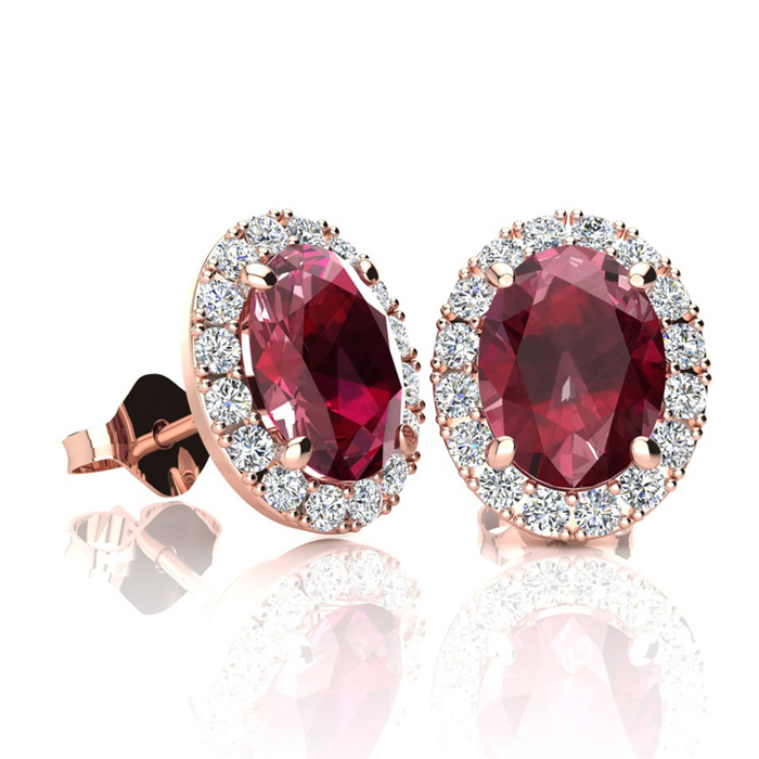 2 Carat Oval Shape Ruby & Halo Diamond Stud Earrings in 14K Rose