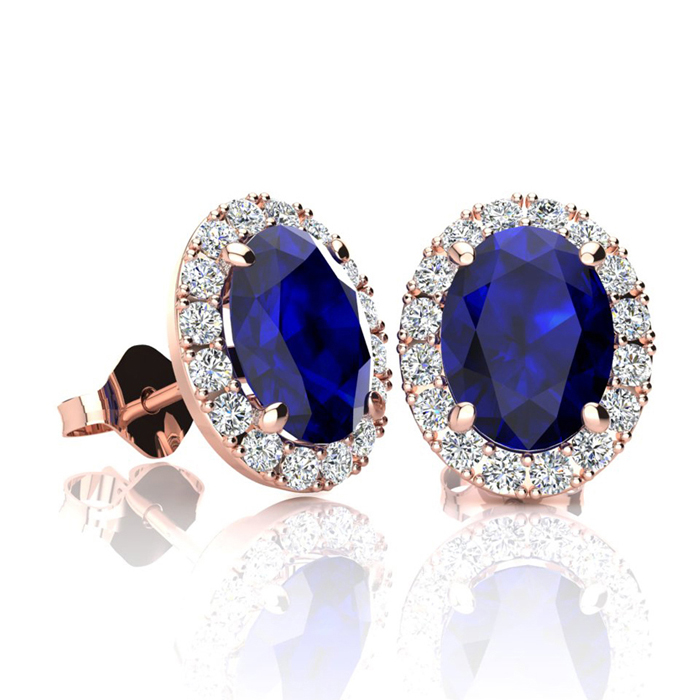 2 1/4 Carat Oval Shape Sapphire & Halo Diamond Stud Earrings in 10K Rose Gold, I/J by SuperJeweler