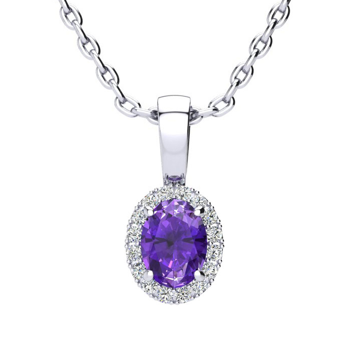 1/2 Carat Oval Shape Amethyst & Halo Diamond Necklace in 14K Whit