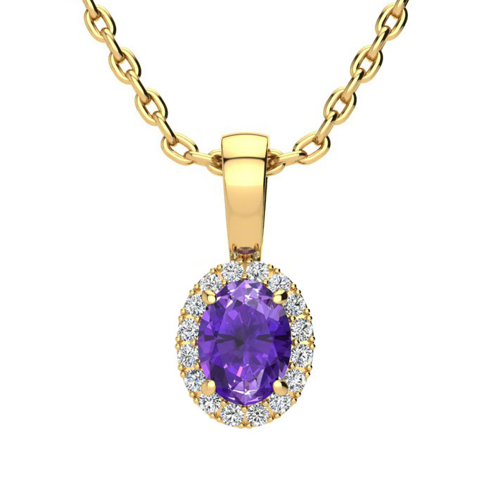 1/2 Carat Oval Shape Amethyst & Halo Diamond Necklace in 14K Yell
