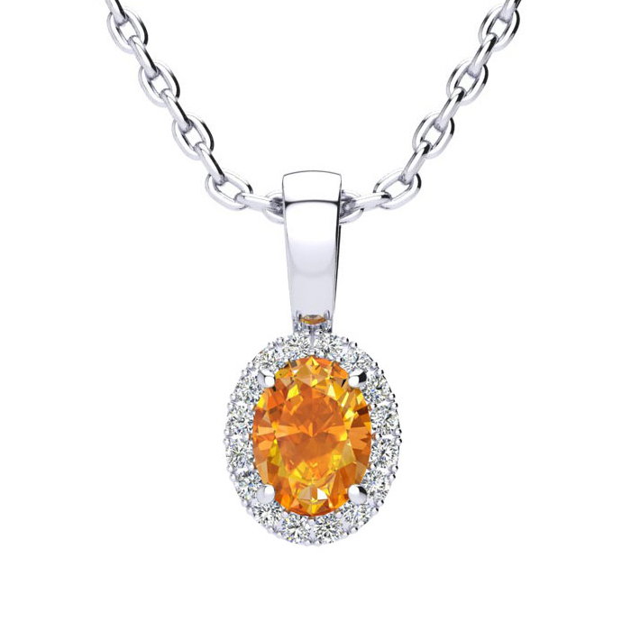 1/2 Carat Oval Shape Citrine & Halo Diamond Necklace in 14K White