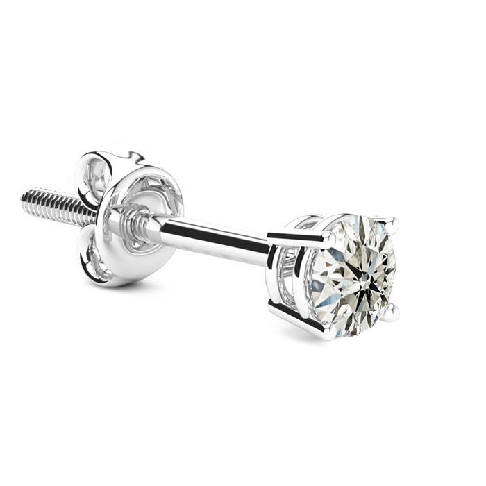 Classic 3/8 Carat Single Diamond Stud Earring in 14k White Gold,