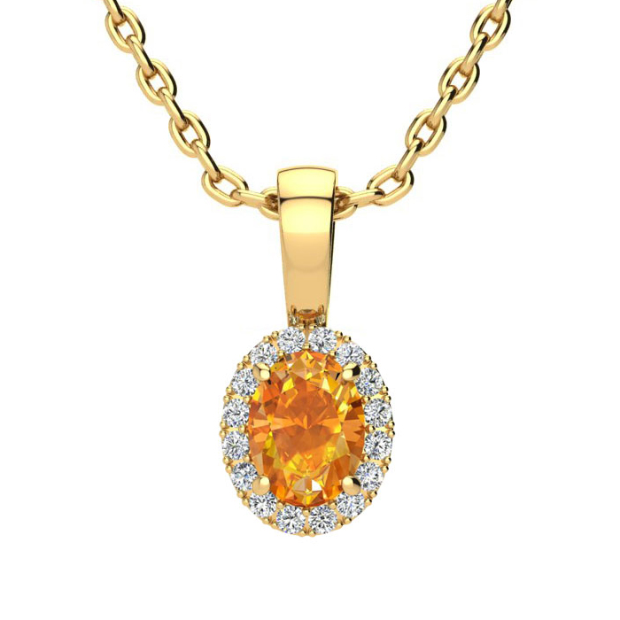 1/2 Carat Oval Shape Citrine & Halo Diamond Necklace in 10K Yellow Gold w/ 18 Inch Chain, I/J by SuperJeweler