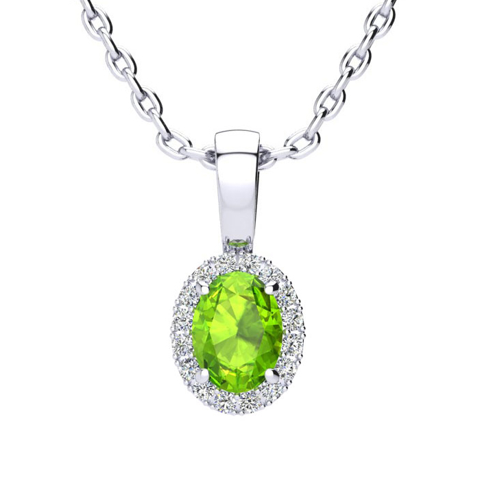 1/2 Carat Oval Shape Peridot & Halo Diamond Necklace in 10K White
