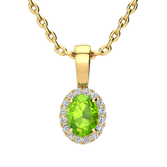 1/2 Carat Oval Shape Peridot & Halo Diamond Necklace in 10K Yello