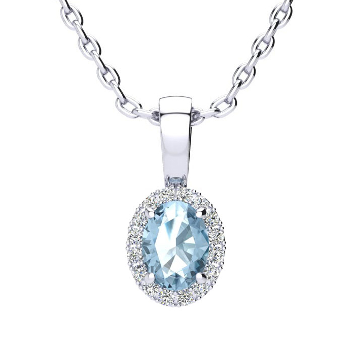0.62 Carat Oval Shape Blue Topaz & Halo Diamond Necklace in 10K W
