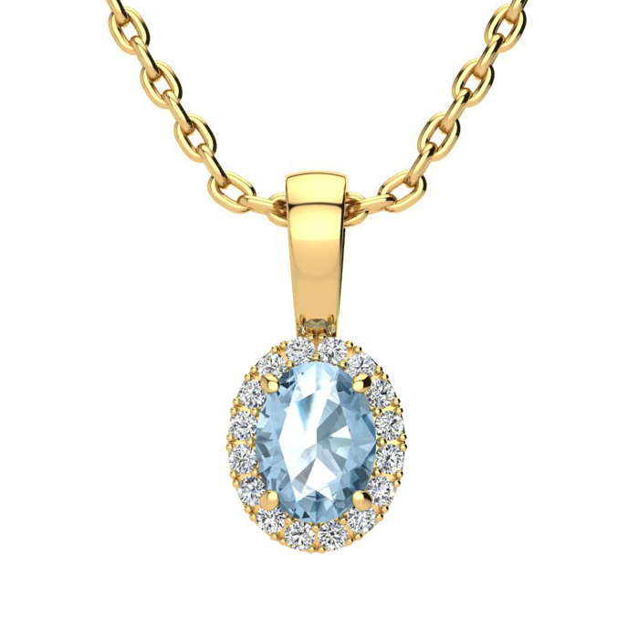 0.62 Carat Oval Shape Blue Topaz & Halo Diamond Necklace in 10K Y