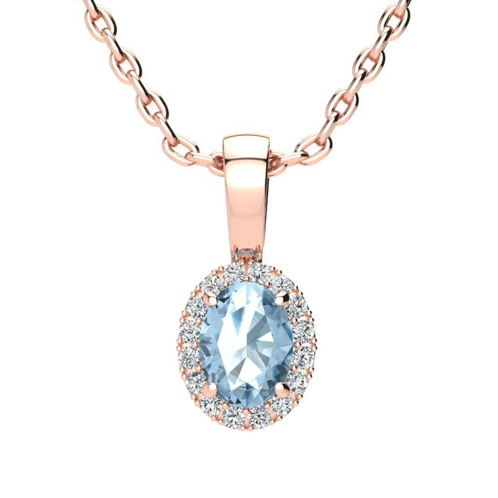 0.62 Carat Oval Shape Blue Topaz & Halo Diamond Necklace in 10K R
