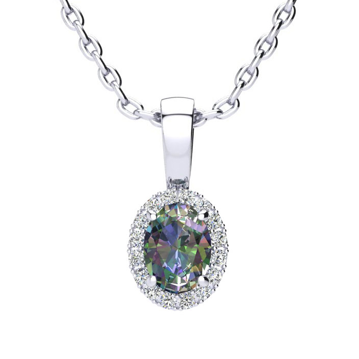 0.62 Carat Oval Shape Mystic Topaz & Halo Diamond Necklace in 14K