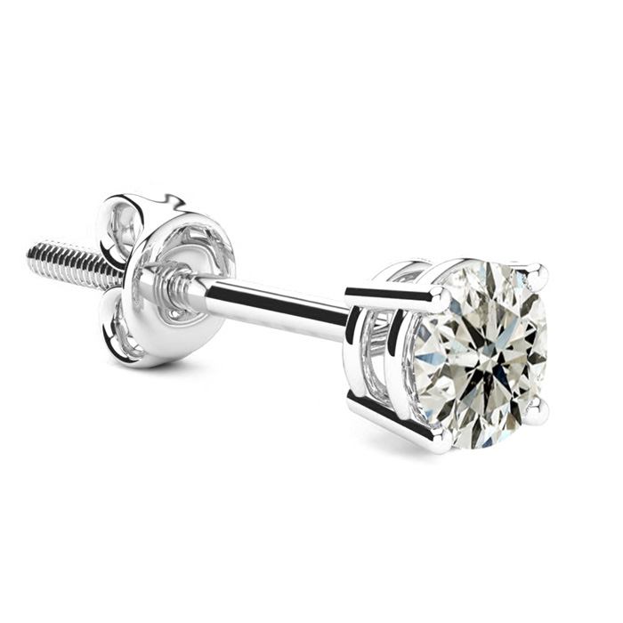 Classic 2/3 Carat Single Diamond Stud Earring in 14k White Gold,