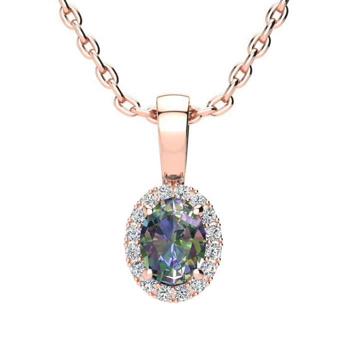 0.62 Carat Oval Shape Mystic Topaz & Halo Diamond Necklace in 10K