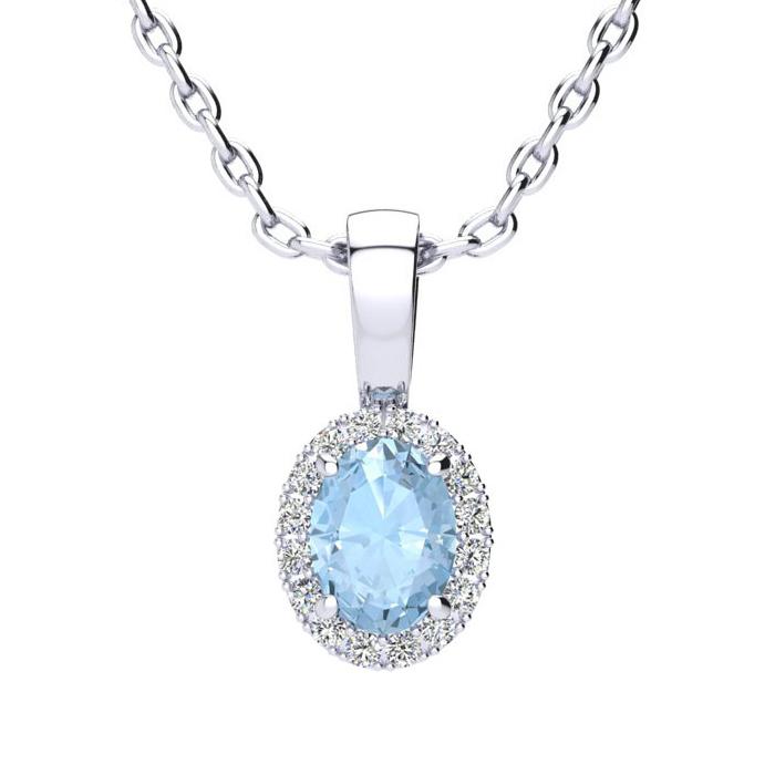 1/2 Carat Oval Shape Aquamarine & Halo Diamond Necklace in 10K Wh
