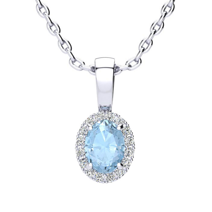 1/2 Carat Oval Shape Aquamarine & Halo Diamond Necklace in 14K Wh