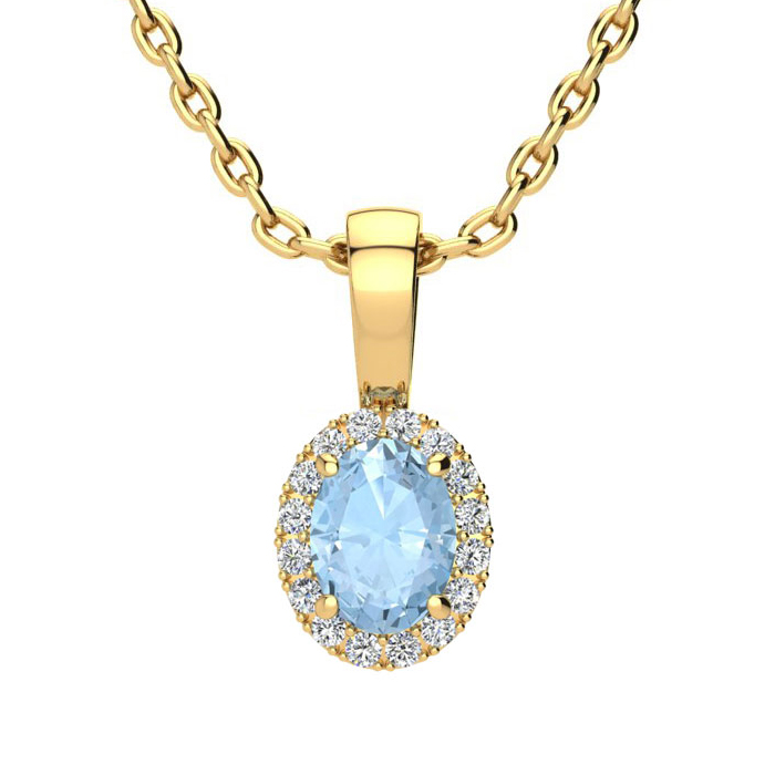 1/2 Carat Oval Shape Aquamarine & Halo Diamond Necklace in 10K Ye