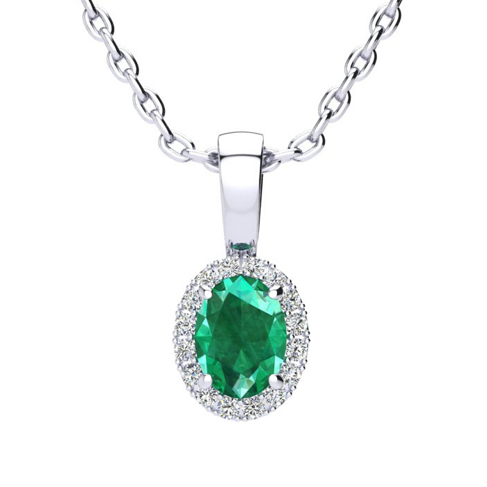 1/2 Carat Oval Shape Emerald Cut & Halo Diamond Necklace in 14K W