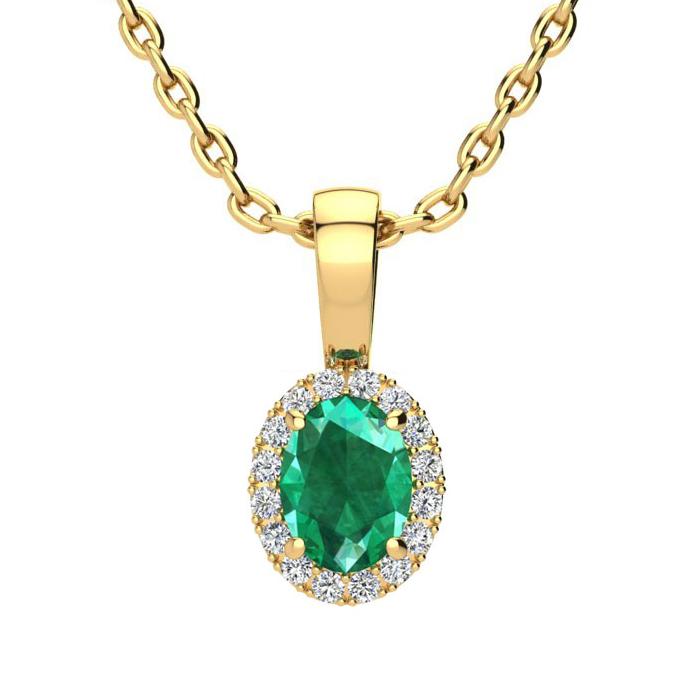 1/2 Carat Oval Shape Emerald Cut & Halo Diamond Necklace in 10K Y