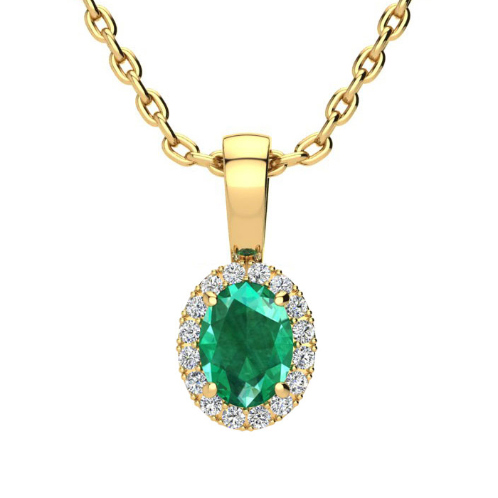 1/2 Carat Oval Shape Emerald Cut & Halo Diamond Necklace in 14K Y