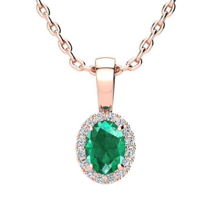 1/2 Carat Oval Shape Emerald Cut & Halo Diamond Necklace in 14K R