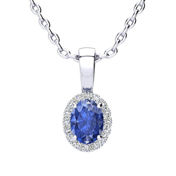 0.62 Carat Oval Shape Tanzanite & Halo Diamond Necklace in 14K Wh