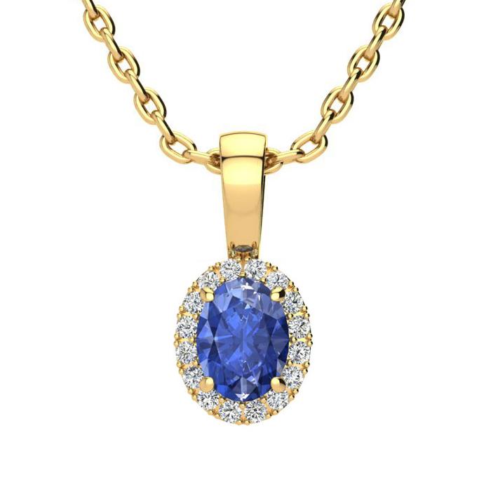 0.62 Carat Oval Shape Tanzanite & Halo Diamond Necklace in 10K Ye