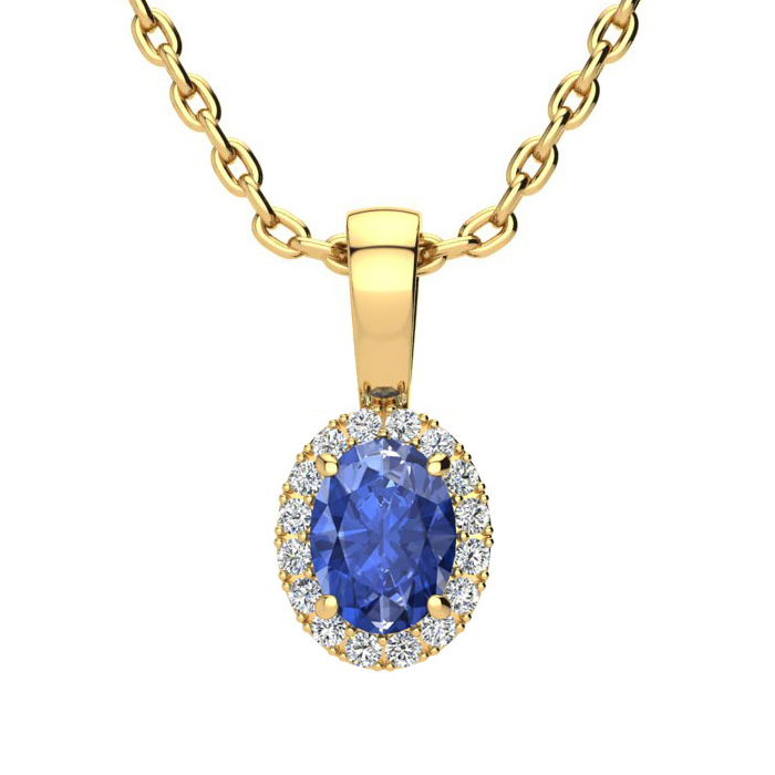 0.62 Carat Oval Shape Tanzanite & Halo Diamond Necklace in 14K Ye