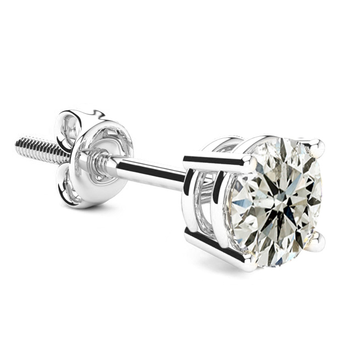 Classic 1 Carat Single Diamond Stud Earring in 14k White Gold, J/