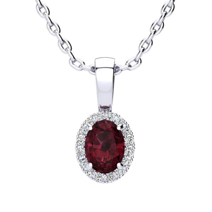 0.62 Carat Oval Shape Garnet & Halo Diamond Necklace in 10K White