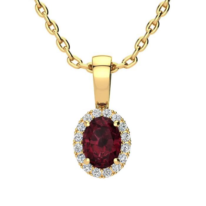 0.62 Carat Oval Shape Garnet & Halo Diamond Necklace in 10K Yello