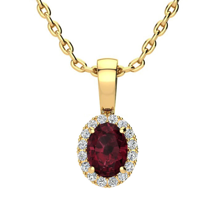 0.62 Carat Oval Shape Garnet & Halo Diamond Necklace in 14K Yello