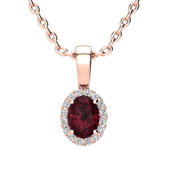 0.62 Carat Oval Shape Garnet & Halo Diamond Necklace in 10K Rose