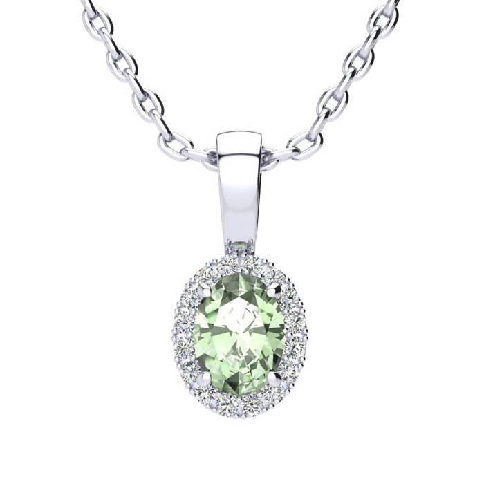 1/2 Carat Oval Shape Green Amethyst & Halo Diamond Necklace in 10