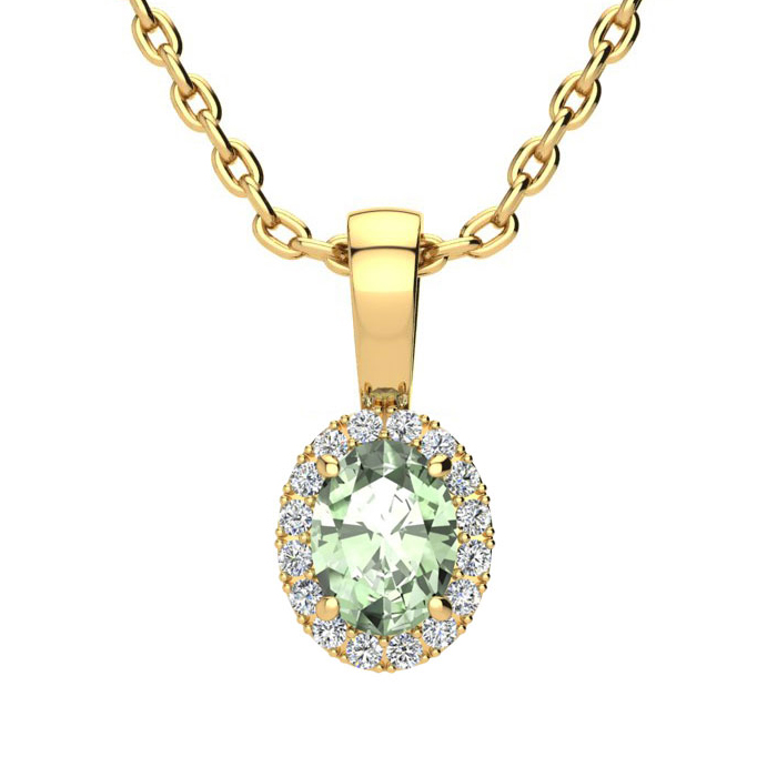 1/2 Carat Oval Shape Green Amethyst & Halo Diamond Necklace in 14