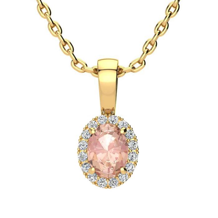 1/2 Carat Oval Shape Morganite & Halo Diamond Necklace in 10K Yel