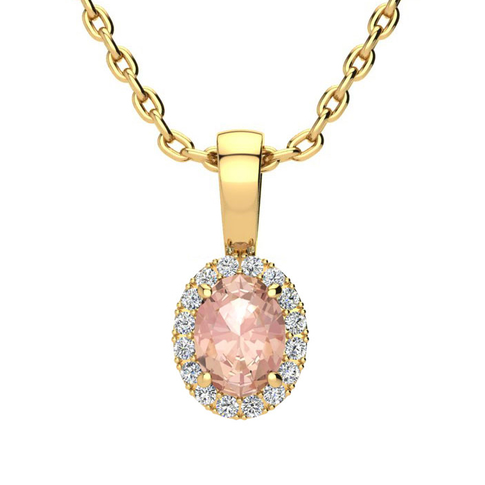 1/2 Carat Oval Shape Morganite & Halo Diamond Necklace in 14K Yellow Gold w/ 18 Inch Chain, I/J by SuperJeweler