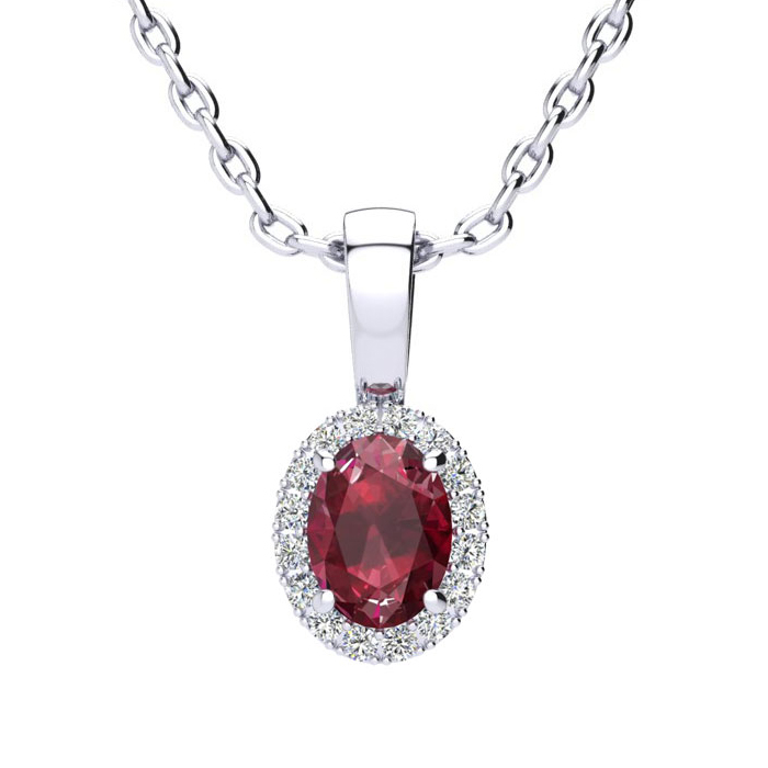 0.62 Carat Oval Shape Ruby & Halo Diamond Necklace in 14K White G