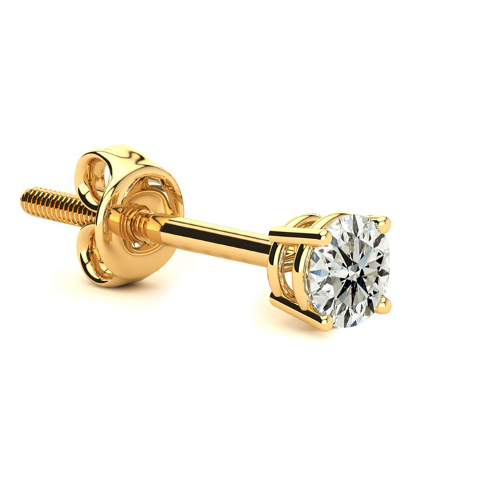 Classic 1/4 Carat Single Diamond Stud Earring in 14k Yellow Gold,