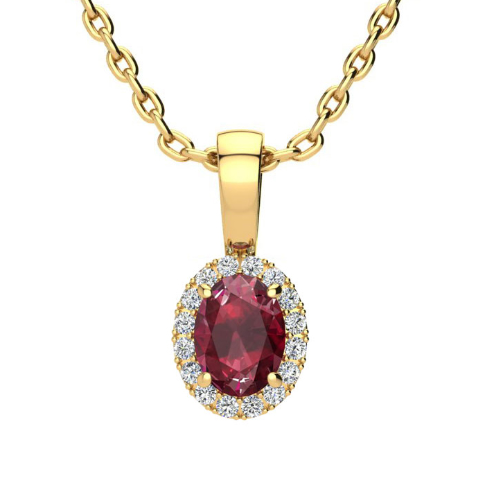 0.62 Carat Oval Shape Ruby & Halo Diamond Necklace in 14K Yellow