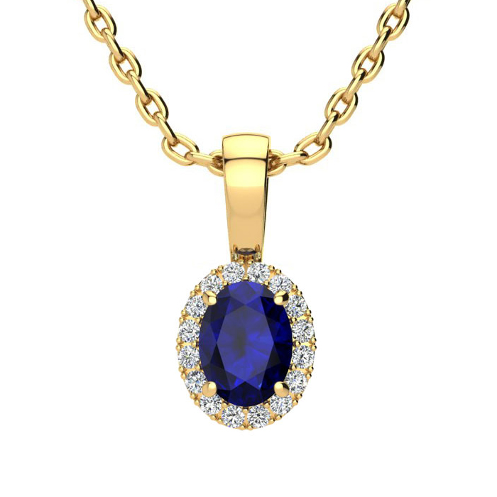 0.67 Carat Oval Shape Sapphire & Halo Diamond Necklace in 10K Yellow Gold w/ 18 Inch Chain, I/J by SuperJeweler