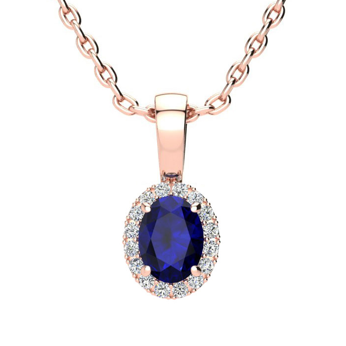 0.67 Carat Oval Shape Sapphire & Halo Diamond Necklace in 10K Ros