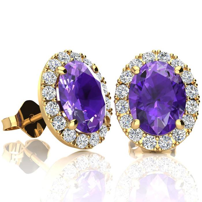 2.40 Carat Oval Shape Amethyst & Halo Diamond Stud Earrings in 14