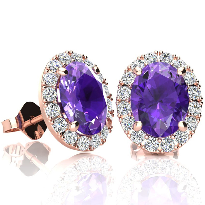 2.40 Carat Oval Shape Amethyst & Halo Diamond Stud Earrings in 10