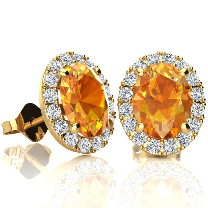 2.40 Carat Oval Shape Citrine & Halo Diamond Stud Earrings in 10K