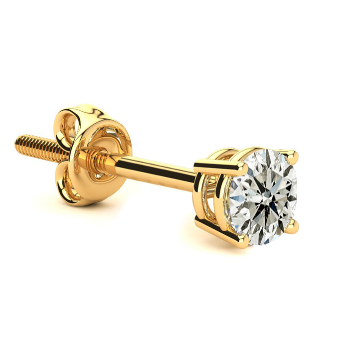 Classic 1/2 Carat Single Diamond Stud Earring in 14k Yellow Gold,