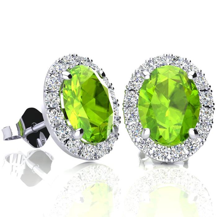 3 Carat Oval Shape Peridot & Halo Diamond Stud Earrings in 10K Wh